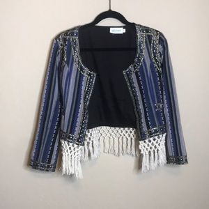 Tularosa Fringe Jacket with White Fringe Size S